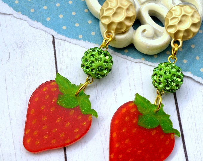 Berry Sweet Dangle - Summer Fruit Basket Collection - Stud Dangle Earrings
