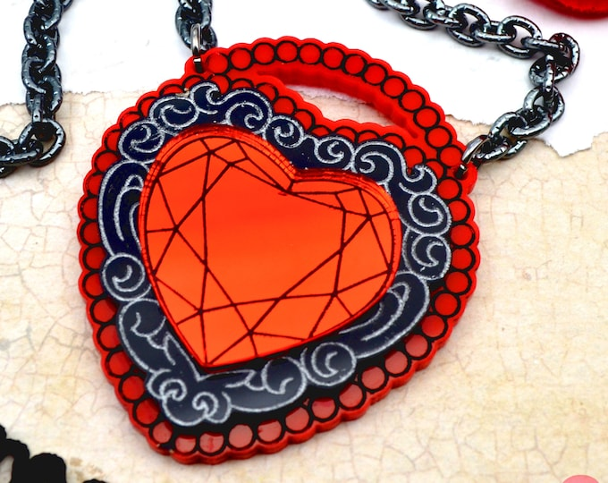 LOVE LOCKED -  Red & Black Laser Cut Acrylic Necklace