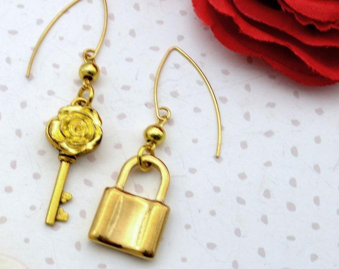 Golden Lock and Key Dangles - Lock and Key Charm Earrings