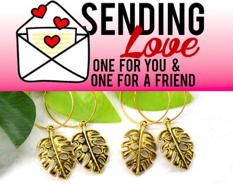 Tropical Monstera Leaf Hoops  - 2 Pairs of Hoop Earrings - Sending Love - One ships to you and one ships to a friend