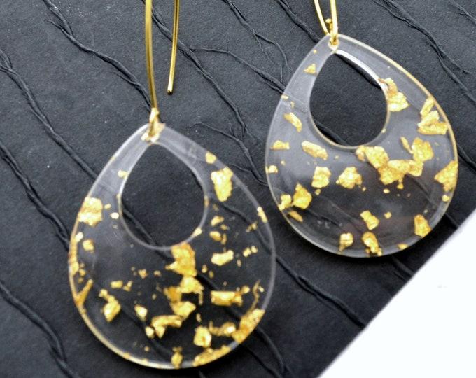 Gold Leaf Teardrop Dangles - Laser Cut Acrylic Earrings