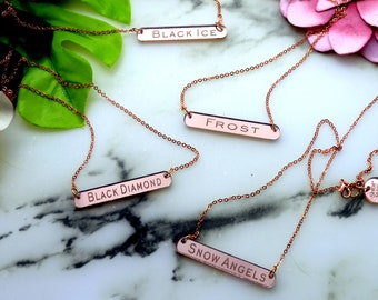 PINNACLE TEAM NECKLACE - Black Diamond - Black Ice - Frost - Snow Angel - Laser Cut Acrylic - Rose Gold Mirrored Necklace