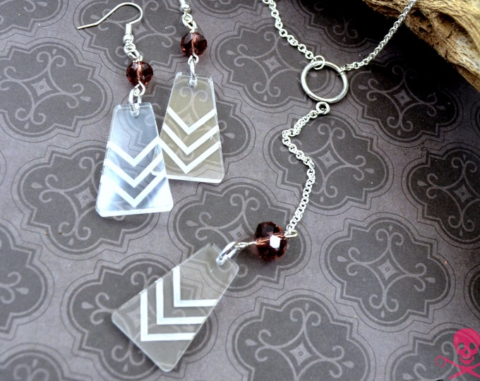 Clearly Chevron - 3 Piece Clear Acrylic Earring Necklace Jewelry Set