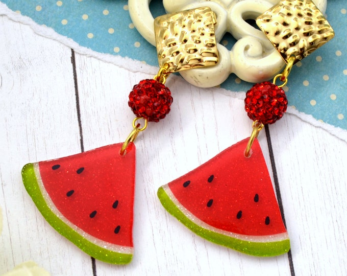 Darling Watermelon Dangle - Summer Fruit Basket Collection - Stud Dangle Earrings