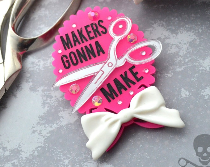 Makers Gonna Make Brooch - Pink Cameo
