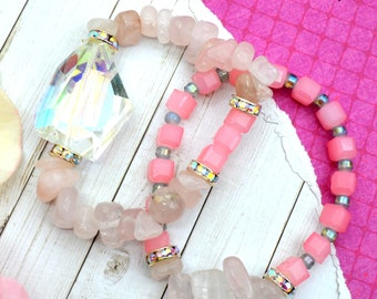 UNICORN CRYSTAL Rose Quartz Bracelet Stack - 2 pack