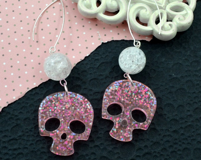 Bubblegum Pink Skull Dangle Earrings - Resin and Clear Crackle Bead