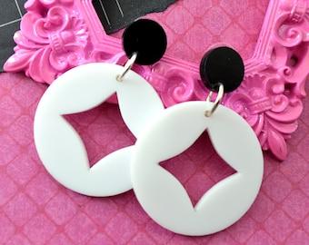 Diamond Eye Dangles in Black and White - Laser Cut Acrylic Earrings