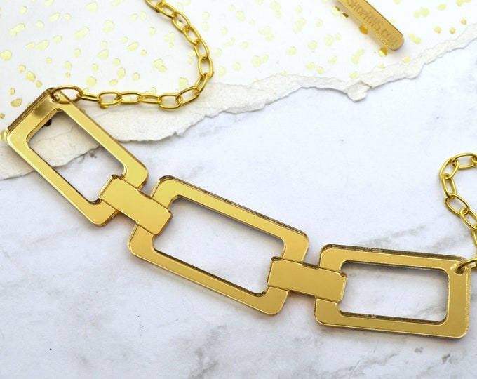 Link Me - Gold Mirror Acrylic Necklace