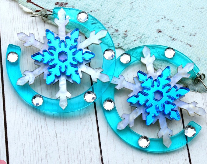 Dashing Through The Snow - Laser Cut Acrylic Snowflake Earrings