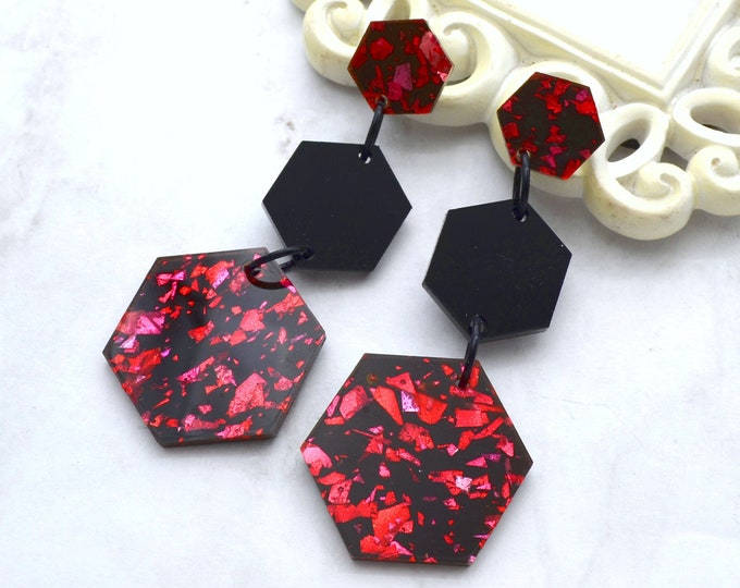 RED FOIL HEXAGONS - Triple Drop Dangles - Post Earrings - Laser Cut Acrylic - Geometric Glam Collection