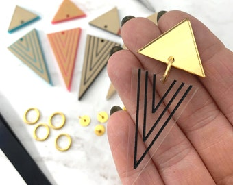 EARRING KIT - Geometric Stud top - Choose Your Colors - Design, Paint, and Make Your Own - DIY