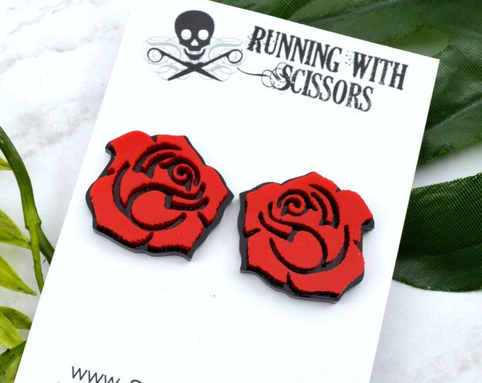 ROSES ARE RED - Laser Cut Acrylic Post Earrings