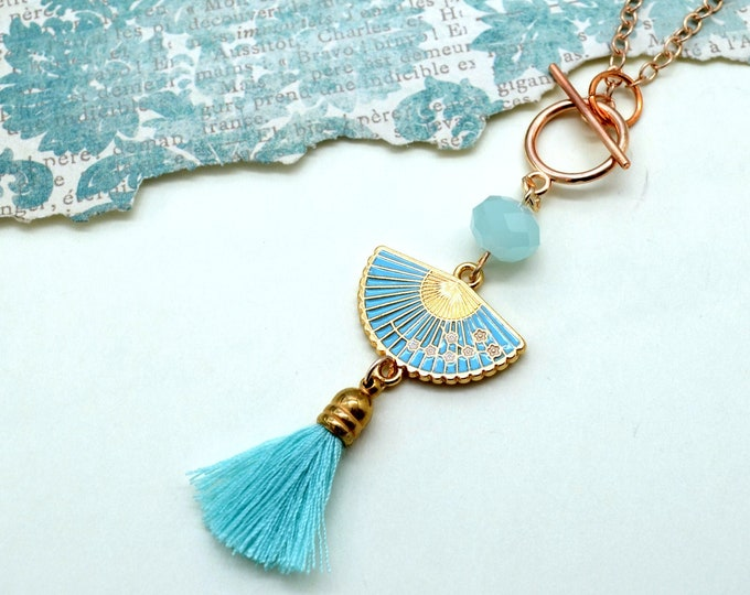 Japanese Beauty - Sky Blue Fan Charm Tassel Necklace