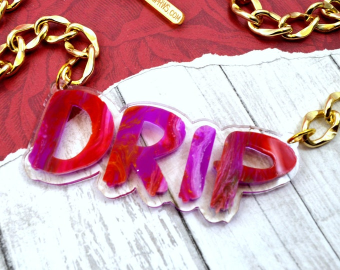 Drip - Laser Cut Acrylic Necklace