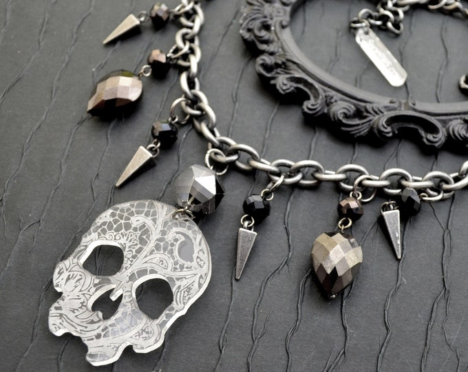 Breathless Lace - Skull and Bauble Laser Cut Acrylic Charm Necklace