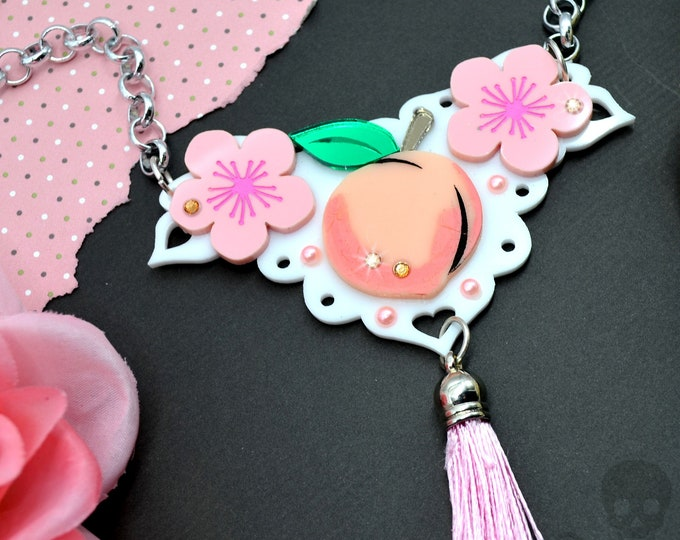 PEACHY KEEN - Peach Blossom Bib - Summer Fruit Basket Collection - Necklace