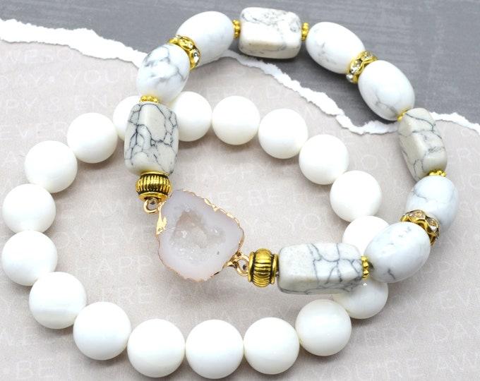 White Marble Druzy Bracelet Stack - 2 pack