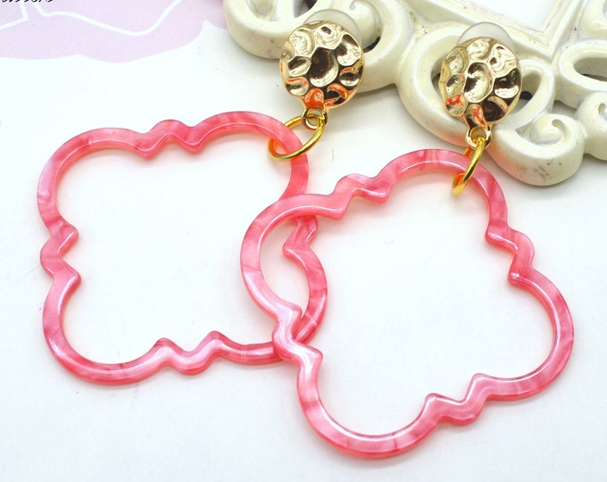 Pink Coral Pearlescent Moroccan Dangles - Post Earrings - Laser Cut Acrylic - Geometric Glam Collection