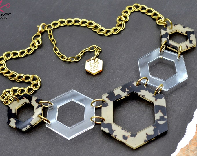 SAFARI GOLD - Hexagon Bib Necklace - Laser Cut Acrylic - Geometric Glam Collection