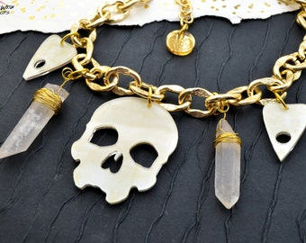Skulls and Spirits - Skull and Quartz Crystal Laser Cut Acrylic Charm Necklace