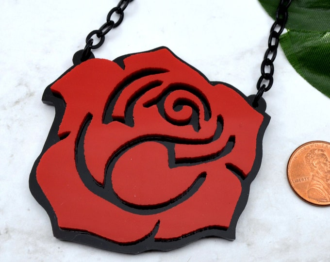 ROSES ARE RED - Laser Cut Acrylic Necklace