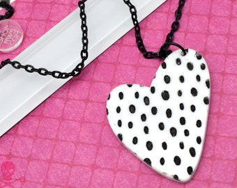 Wild Heart Acrylic Statement Necklace - Black and White