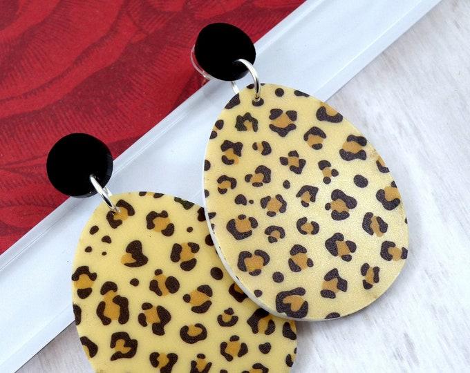 Leopard Drop Dangles - Laser Cut Acrylic Earrings