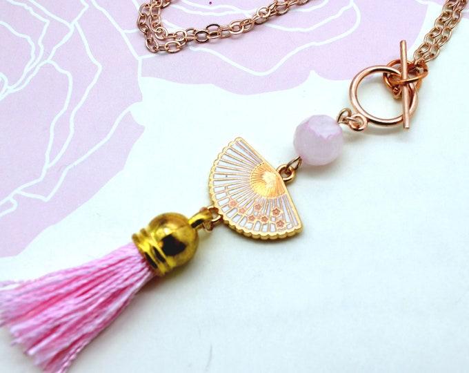 Japanese Beauty - Pink Fan Charm Tassel Necklace
