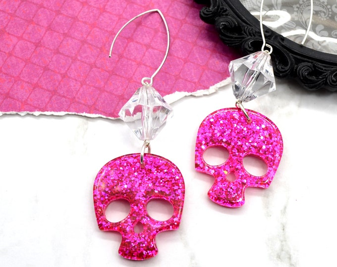 Fuchsia Glitter Skull Dangle Earrings - Resin and Clear Lucite Bicone Bead