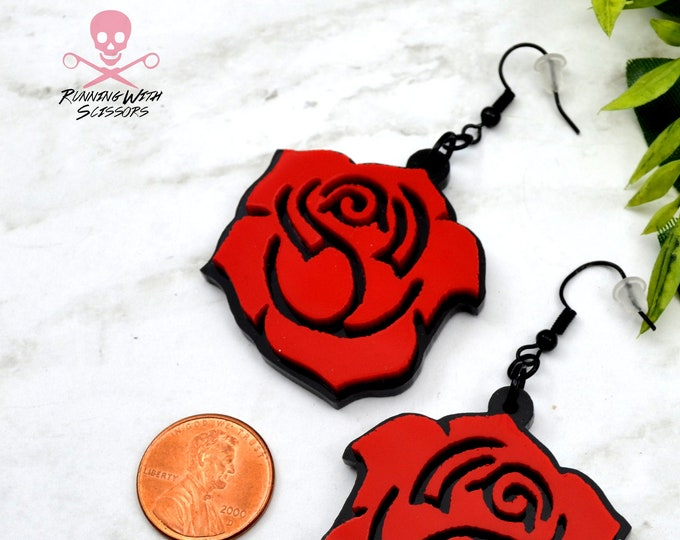 ROSES ARE RED - Laser Cut Acrylic Dangle Earrings