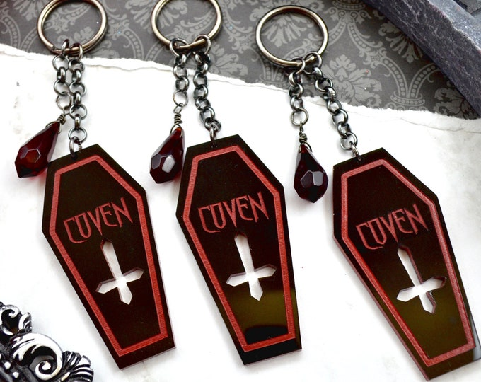 Coven Girl Gang Keychains - Black and Red Coffins in Laser Cut acrylic