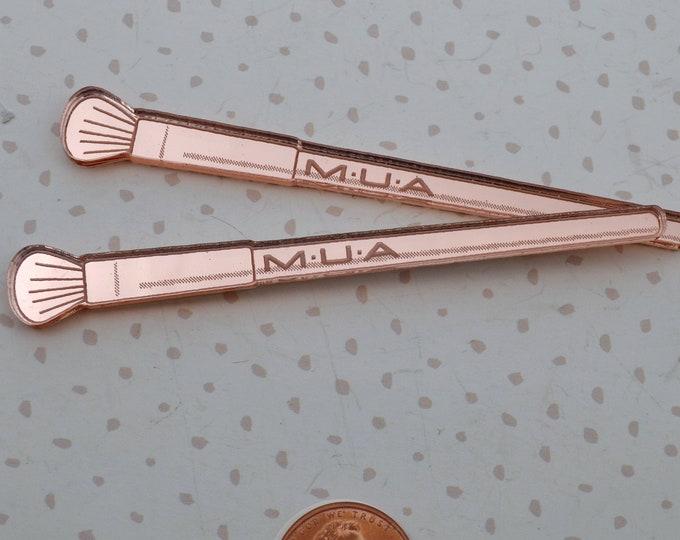 MAKEUP BRUSH CABS - Rose Gold Laser Cut Acrylic - 2 Pieces - Mac - Deco - Jewelry