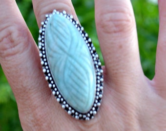 Amazonite Marquis - Sterling Silver Ring, Size 7, 925, USA Seller, Genuine Stone, Marquise Shape, Handmade Gemstone Ring