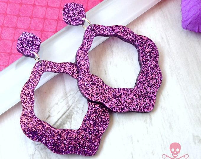Big Flirt Purple Glitter Dangles - Laser Cut Acrylic Earrings