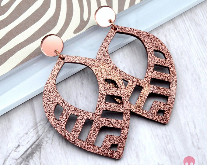 Tropical Dangles in Rose Gold - Laser Cut Acrylic Earrings