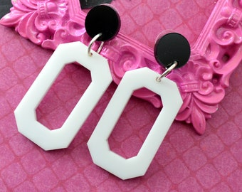 Everyday Dangles in Black and White - Laser Cut Acrylic Earrings