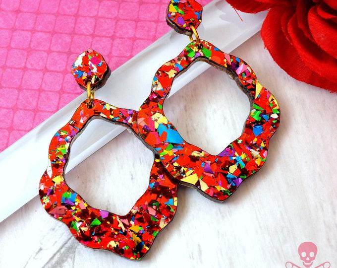Big Flirt Red Confetti Dangles - Laser Cut Acrylic Earrings