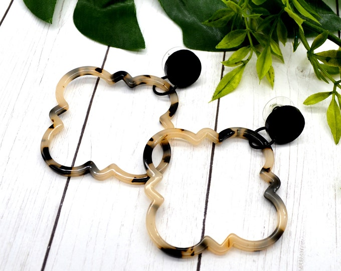 Moroccan Tortoise Shell Dangles - Post Earrings - Laser Cut Acrylic - Geometric Glam Collection