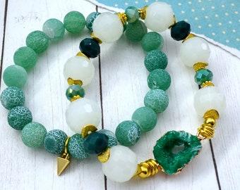 Green Goddess Druzy Bracelet Stack - 2 pack