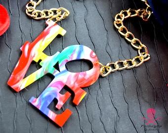 PRIDE! Love Rainbow Swirl Necklace- Laser Cut Acrylic Necklace