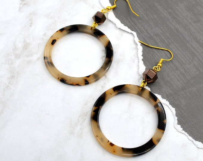 Tortoise Shell Hoops - Dangle Earrings - Laser Cut Acrylic - Geometric Glam Collection