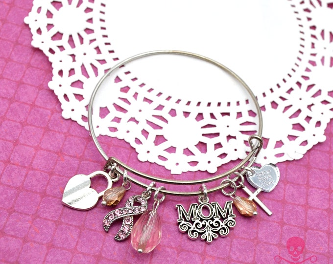 My Mom Is My Hero- Couture Breast Cancer Awareness Cuff Bracelet with Charms and Crystals