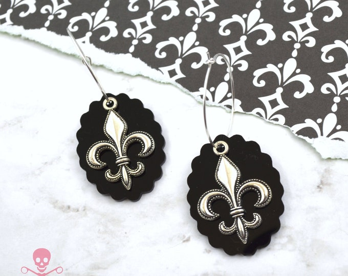 Fleur De Lis Hoops - Silver Charm and Black Scallop Laser Cut Acrylic Hoop Earrings