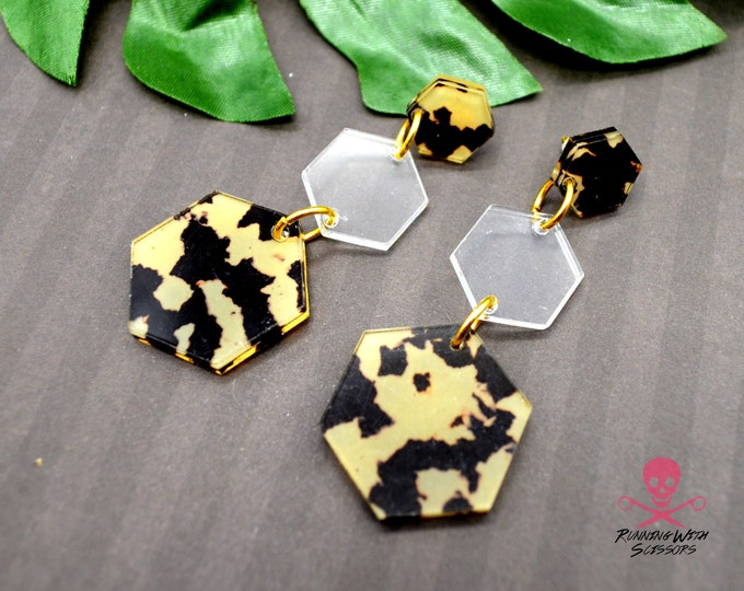 SAFARI HEXAGONS - Triple Drop Dangles - Post Earrings - Laser Cut Acrylic - Geometric Glam Collection