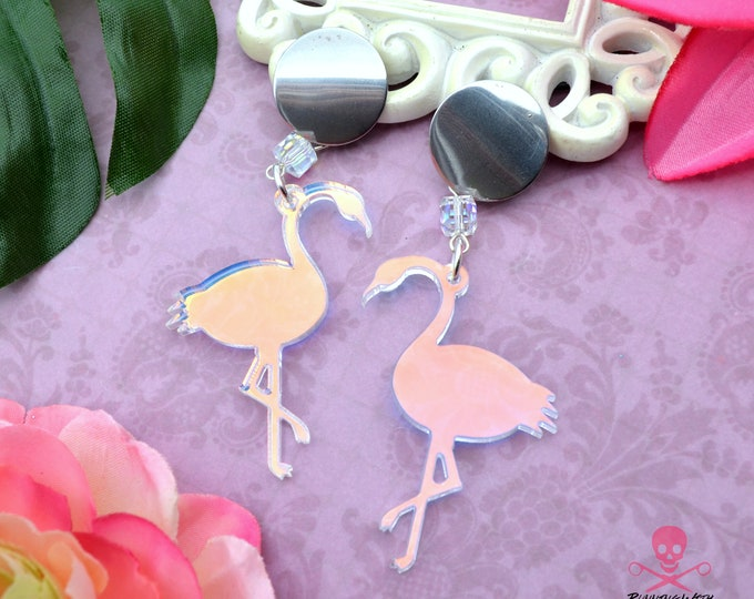 Iridescent Flamingo Post Earrings - Laser Cut Acrylic Dangle Earrings