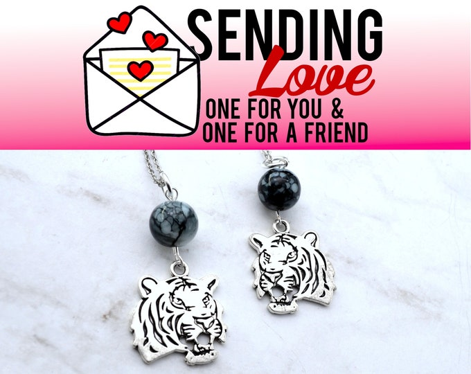 WILD ABOUT YOU - 2 Tiger Necklaces - Set - Sending Love - Once For You and One For A Friend