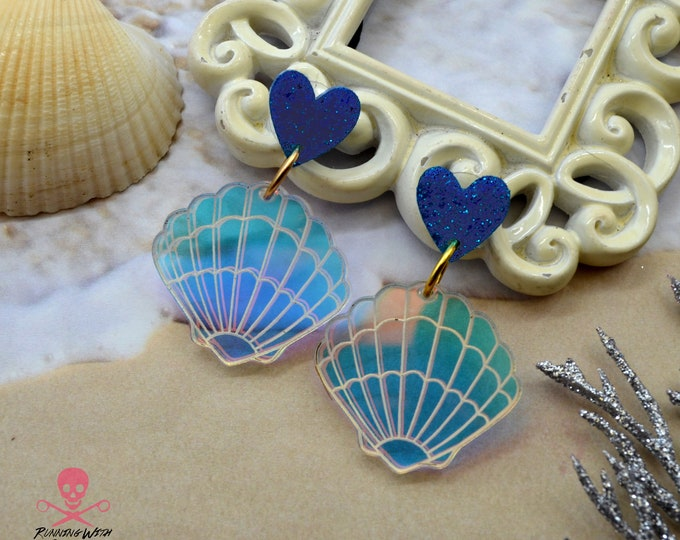 Iridescent Sea Shell Post Earrings - Laser Cut Acrylic Earrings