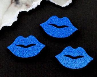 Dark Blue Glitter Lips - 3 Pieces - In Laser Cut Acrylic