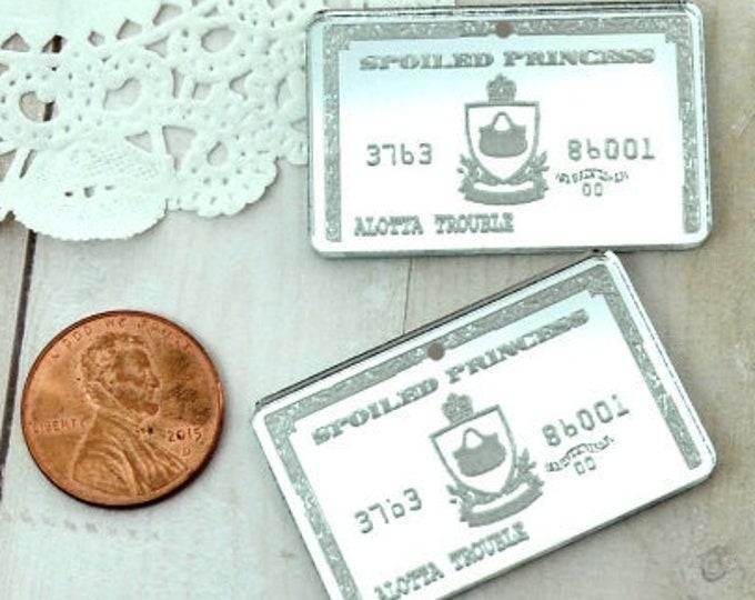 2 SILVER MIRROR Credit Cards - Fancy Fun Charms - Laser Cut Acrylic